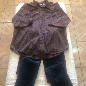 Men's outfit button up shirt and jeans